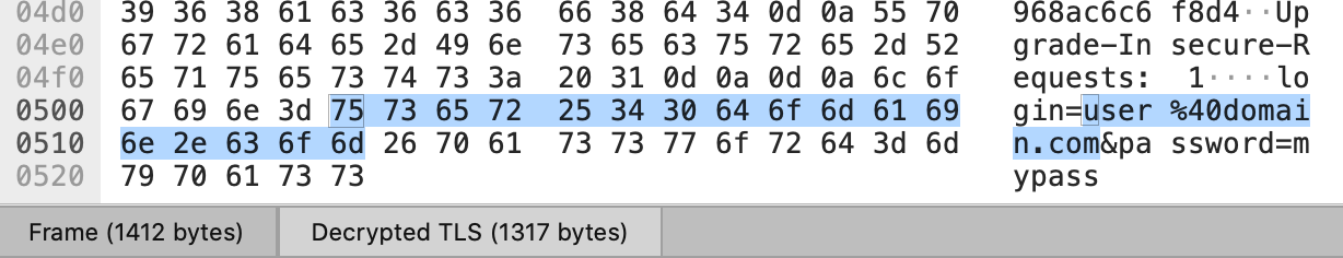 Wireshark TLS decrypted